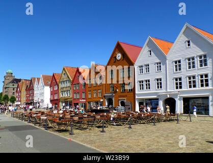 Colorful Historic Buildings of the Bryggen Hanseatic Wharf of Bergen, UNESCO World Heritage Site in Bergen, Norway - Stock Photo
