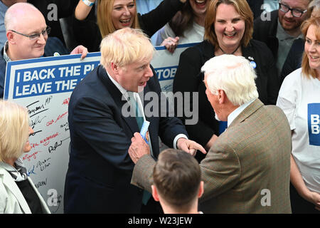 Perth, Scotland, United Kingdom. 05th July, 2019. Conservative Party leadership contender Boris Johnson arrives at Perth Concert Hall to take part in one of a series of leadership election hustings for party members around the UK. Credit: Ken Jack/Alamy Live News - Stock Photo