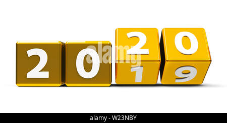 Golden cubes with 2019-2020 change on a white table represents the new 2020, three-dimensional rendering, 3D illustration - Stock Photo