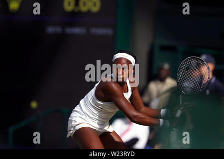 London, UK. 05th July, 2019. Wimbledon, 5 July 2019 - Cori Gauff during her third round match against Polono Herzog today at Wimbledon. Credit: Adam Stoltman/Alamy Live News - Stock Photo