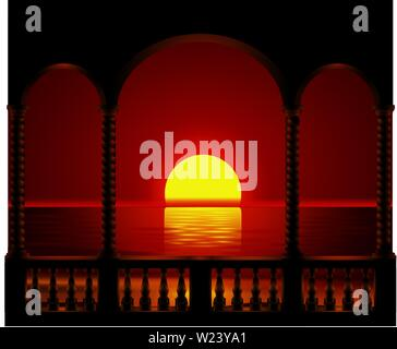 sunset on the beach seen from the balcony illustration vector - Stock Photo