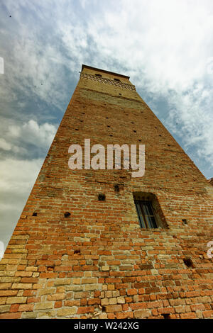 Brick tower of Serralunga d'Alba castle (castello) - Stock Photo
