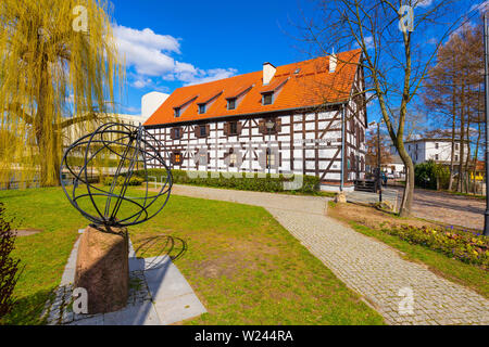 Bydgoszcz, Kujavian-Pomeranian / Poland - 2019/04/01: White Granary housing the Archeological Museum, on the Mill Island in the historic old town - Stock Photo