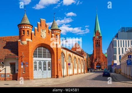 Bydgoszcz, Kujavian-Pomeranian / Poland - 2019/04/01: Front view of the historic Municipal Market Hall building at the Magdzinskiego street with the S - Stock Photo