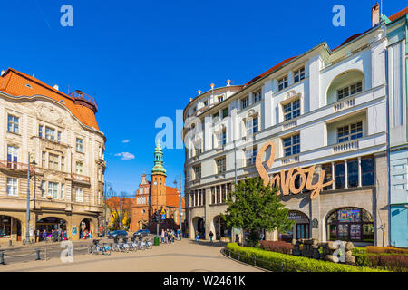 Bydgoszcz, Kujavian-Pomeranian / Poland - 2019/04/01: Panoramic view of the historic city center with the Poor Clares church in background - Stock Photo