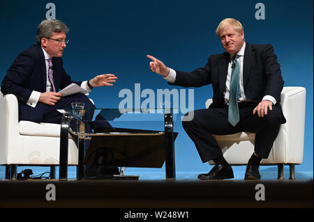 Perth, Scotland, United Kingdom, 05, July, 2019. Conservative Party leadership contender Boris Johnson addresses a leadership election hustings for party members. © Ken Jack / Alamy Live News - Stock Photo