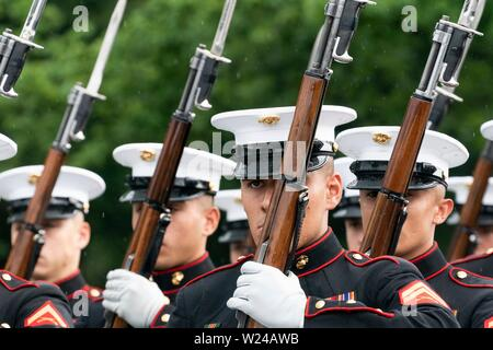 Washington DC, USA. 04th July, 2019. The U.S. Marine Corps Silent Drill Platoon performs at the Salute to America event at the Lincoln Memorial July 4, 2019 in Washington, D.C. Credit: Planetpix/Alamy Live News - Stock Photo