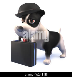 3d render of a cartoon black and white puppy dog hound wearing bowler hat and holding a briefcase in 3d - Stock Photo