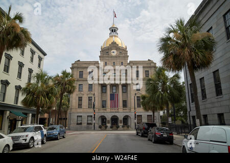 Savannah city hall with golden dome city of savannah georgia usa - Stock Photo