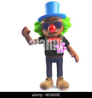 Funny black hiphop rapper wearing a clown outfit, 3d illustration render - Stock Photo