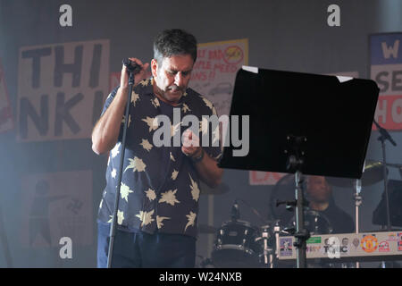 Great Tew, Oxfordshire, July 5th 2019. Terry Hall with The Specials performing on stage, Great Tew, Oxfordshire Credit: Dawn Fletcher-Park/Alamy Live News - Stock Photo