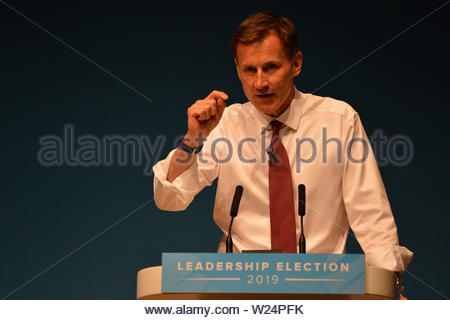 Perth, UK. 5 July 2019. Pictured: Jeremy Hunt MP.  Conservative leadership contenders Boris Johnson and Jeremy Hunt are to face Scottish party members at a hustings event in Perth.  The hustings in Perth is the latest in a series of events around the UK which see the two candidates make a speech to local members before taking questions from a host and the audience.  Party members should receive their ballots in the coming days, with the winner to be announced on 23 July. Credit: Colin Fisher/Alamy Live News - Stock Photo