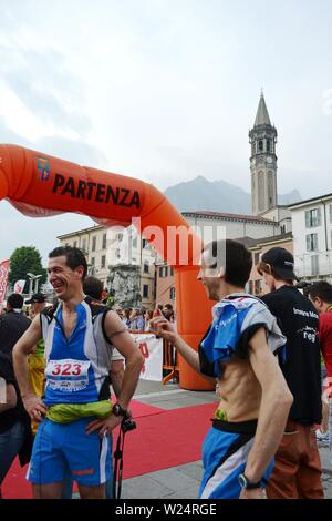 Lecco/Italy - June 1, 2013: Sportsmen arrived at the finish of the 'Lecco city - Resegone mountain' running marathon event. - Stock Photo