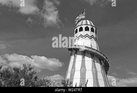 A helter-skelter on the Beach Lawns in Weston-super-Mare UK during the annual Weston Air Festival. - Stock Photo