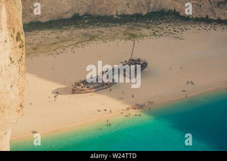 Famous shipwreck on Navagio Beach, Zakynthos - Zante, Greece - Stock Photo