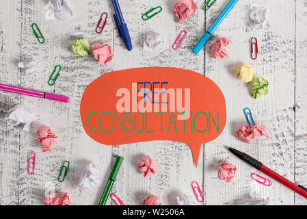 Handwriting text Free Consultation. Conceptual photo Giving medical and legal discussions without pay Blank speech bubble pens clips crushed paper bal - Stock Photo