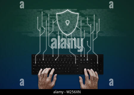 Internet, online network, social networking and online security system - Stock Photo