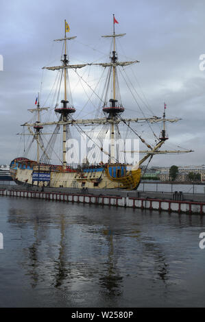 Historical ship Poltava on the English Embankment in St. Petersburg, Russia - Stock Photo