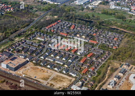 Aerial view over typical residential Berlin suburb, Germany. - Stock Photo