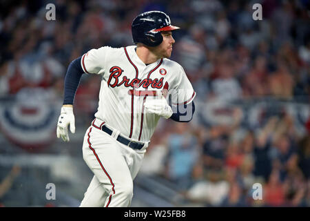 Atlanta, GA, USA. 04th July, 2019. Atlanta Braves first baseman Freddie Freeman rounds first base after hitting a home run during the fourth inning of a MLB game against the Philadelphia Phillies at SunTrust Park in Atlanta, GA. Austin McAfee/CSM/Alamy Live News - Stock Photo