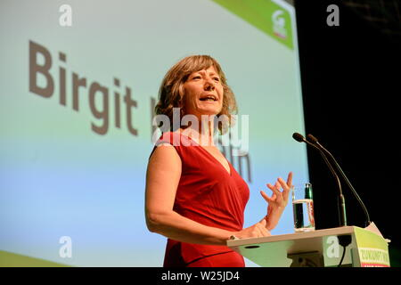 """Vienna, Austria. 06th July, 2019. 41st Federal Congress of the Greens(GRUENE). The list places 1 to 14 of the list of candidates for the National Council election 2019 are selected in the """"Expedithalle Wien"""".  Picture shows the Deputy Mayor of Vienna, Birgit Hebein. Credit: Franz Perc / Alamy Live News - Stock Photo"""