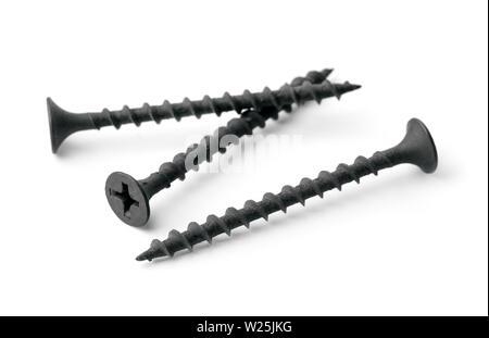 Black drywall screws isolated on white - Stock Photo