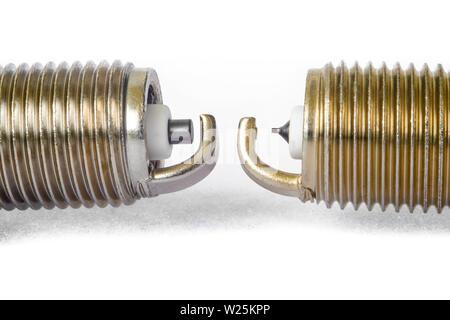 car spark plugs with iridium electrode and ordinary - Stock Photo
