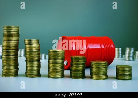 Oil price drop. Red barrel and money. - Stock Photo