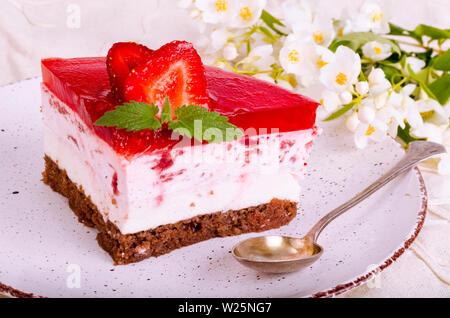 Homemade strawberry mousse cake. Studio Photo - Stock Photo