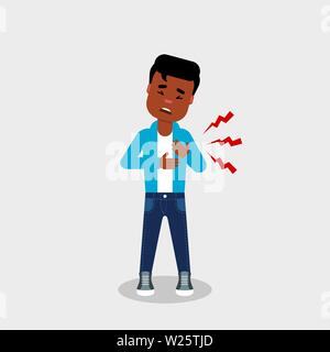 Young African American having chest pain. Heart attack, chest ache, discomfort, concept.Cardiovascular disease symptoms.A character holding his chests - Stock Photo