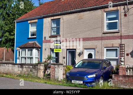 Small terraced house for sale, Swatham, Norfolk, U.K - Stock Photo