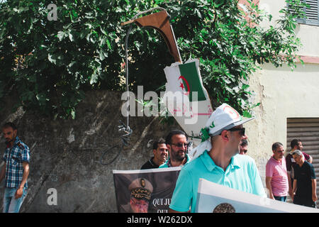 Bejaia, Algeria - 06/21/2019: Manifestation against Gaid Salah after  his last speech about forbidding the Amazigh emblem in protests. - Stock Photo