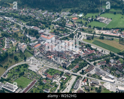 Gmuend in Carinthia, Austria - Aerial View - Medieval Town Center and Tourist Attraction - Stock Photo