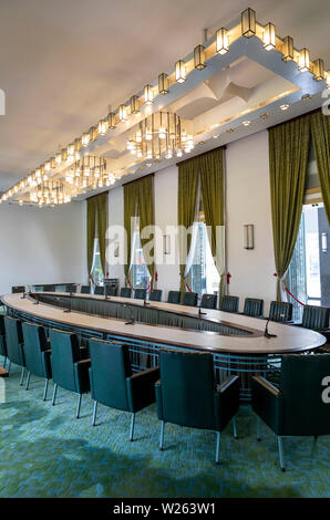 Cabinet Room, Reunification Palace. Scene of final surrender in vietnam War after North Vietnamese Tanks burst through the Palace gates - Stock Photo