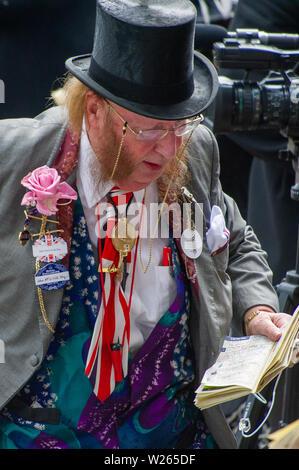 Royal Ascot, Ascot Racecourse, Berkshire, UK. 19th June, 2012. Racing pundit and journalist John McCririck at work in the press area at Royal Ascot. Credit: Maureen McLean/Alamy - Stock Photo