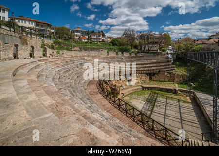 Ohrid, Northern Macedonia -  April 2019 : Ruins and remnants of ancient Roman theatre - Stock Photo