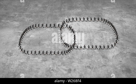 Group of people link symbol connected together as a chain and social network as business networking concept in a 3D illustration style. Stock Photo