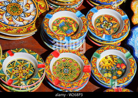 Souvenir shop with typical ceramic products in Erice - Stock Photo