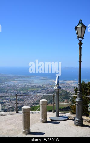 Trapani view from Erice, Sicily, Italy - Stock Photo