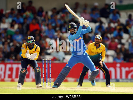 India's KL Rahul during the ICC Cricket World Cup group stage match at Headingley, Leeds. - Stock Photo
