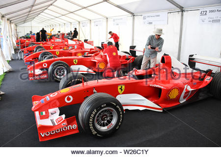 Pictured 4/7/19 is the first day of the Goodwood Festival of speed near Chichester in West Sussex - Stock Photo