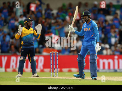 India's KL Rahul celebrates his half century during the ICC Cricket World Cup group stage match at Headingley, Leeds. - Stock Photo