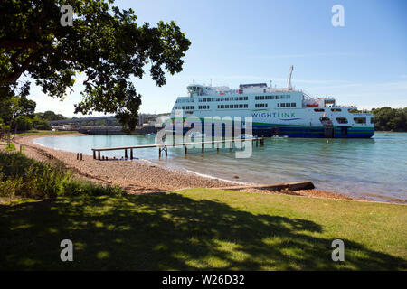 Green,energy,electric,diesel,charged,car,ferry, Wightlink, Victoria of Wight, Portsmouth,Fishbourne, ferry, Isle of Wight, Pop,Festival,Transport, Eng - Stock Photo
