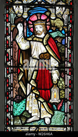 Stained Glass Window depicting Jesus as 'The Light Of The World' - Stock Photo