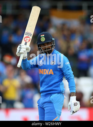 India's KL Rahul celebrates his century during the ICC Cricket World Cup group stage match at Headingley, Leeds. - Stock Photo