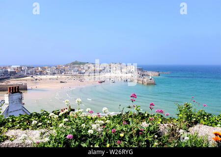 St. Ives, Cornwall, UK. June 26, 2019. Taken at low tide from the Malakoff gardens of the beautiful harbour and town of St. Ives in Cornwall, UK.