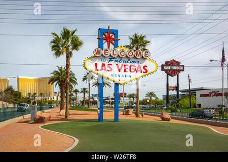 LAS VEGAS, NEVADA - April 8, 2019: The famous Welcome to Fabulous Las Vegas sign. USA - Stock Photo