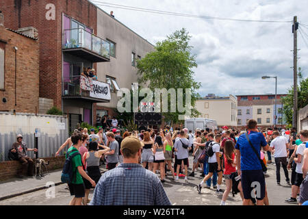 Crowds in the streets around St Pauls Carnival, Bristol, 6 July 2019 - Stock Photo