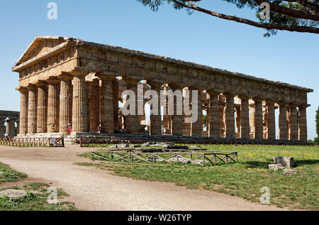 Paestum, ruins, Temple of Neptune, ancient Greek city, archeological site, 450 B.C., UNESCO site, Europe; Salerno Province; Italy; summer; horizontal - Stock Photo