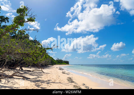 Beach on Green Island, a coral cay in the Great Barrier Reef Marine Park, Queensland, Australia - Stock Photo